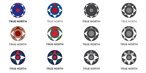 Second level of logos for True North, after selecting the compass form