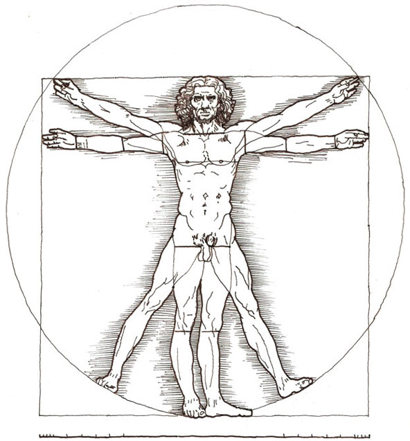 Redrawn illustration of da Vinci's Vitruvian man, black ink on Gateway.