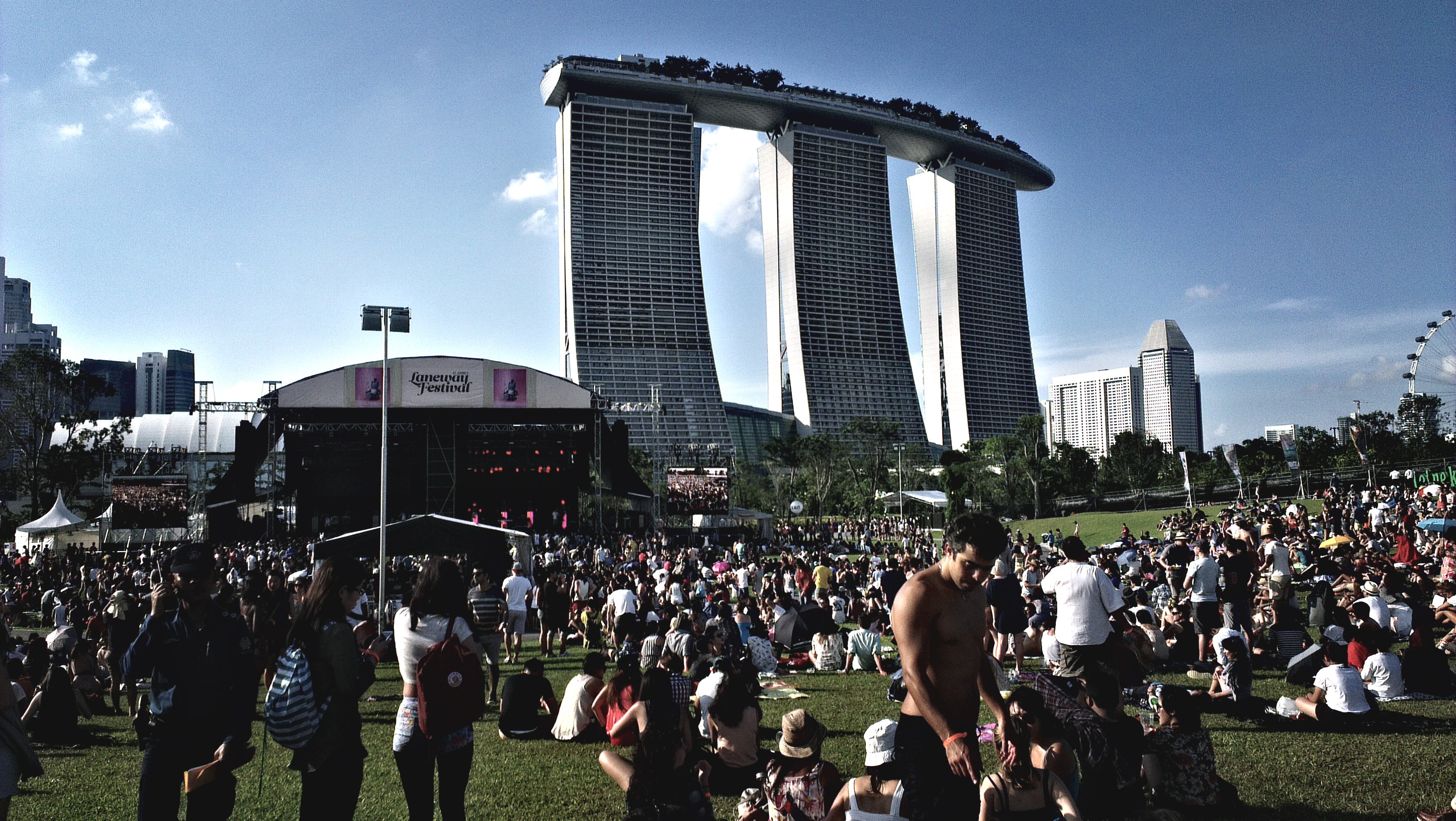 The Laneway stage, set against the backdrop of Singapore's skyline.